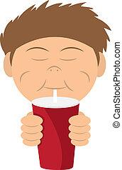 Kid Drinking Shake - Boy drinking a soda or shake from straw...