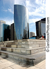 Stairs to career concept, skyscrapers in background