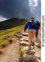 Mountains hiking trail - Tatra Mountains rainy landscape and...