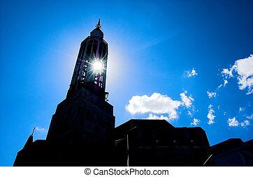 Sun and church - Sun shining through church tower