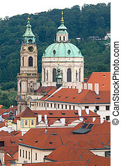 Architecture in Prague, Mala Strana View towards Petrin hill...