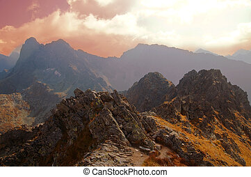 Mountains sunset landscape. Tatra colorful picture