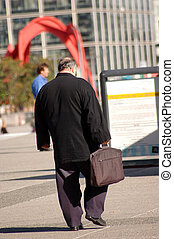 Businessman go to work - Fat businessman go to work
