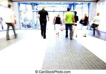 Shopping abstract People rush motion blurred