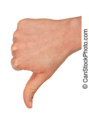 Thumb down - Hand of a woman with thumb down isolated on a...