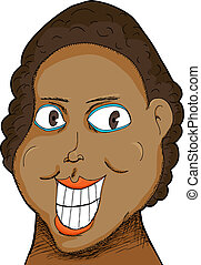 Woman with Big Grin - Caricature of a Black woman with big...
