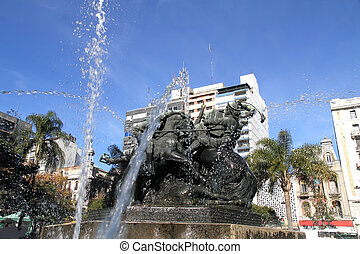 Monumento de Entrevero in Montevideo - The Fountain /...