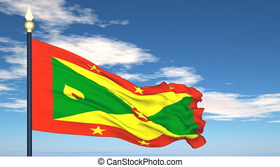 Flag Of Grenada on the background of the sky and flying...