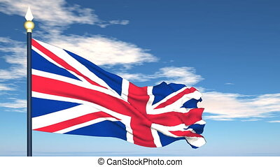 Flag Of United Kingdom on the background of the sky and...