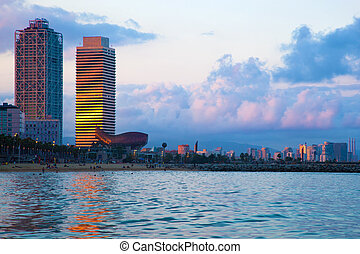 Barcelona skyline from sea Barceloneta beach