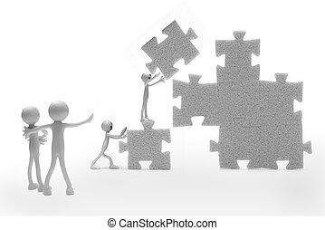 Business teamwork concept. A group building a puzzle...