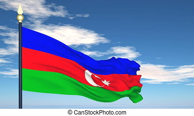 Flag Of Azerbaijan on the background of the sky and flying...