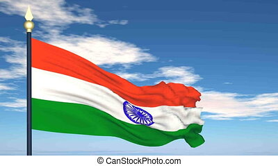 Flag Of India on the background of the sky and flying...