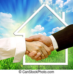 Housing deal Conceptual image of buying, selling new house