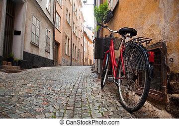 Un, bicicleta, viejo, pueblo, Estocolmo