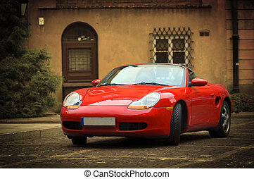 Sport car in the old town scenery - Red sport car in the old...