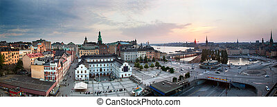 Stockholm, Sweden wide panorama at sunset. View on a part of...