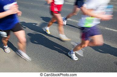 Running fast, marathon - Running fast in marathon, legs...