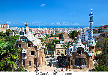 Park Guell, view on Barcelona, Spain - Building in Park...