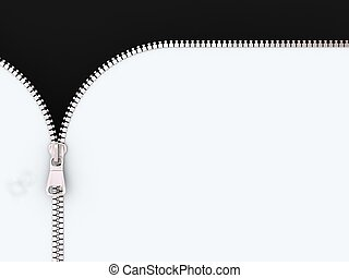 3D Illustration Zipper on White and Black Background