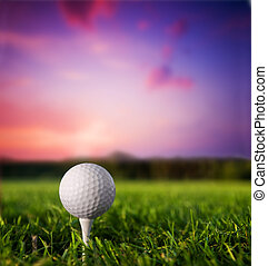 Golf ball on tee at sunset - Golf ball on tee. Green grass,...