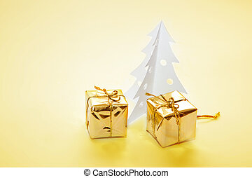 Christmas decoration - paper tree, presents - Christmas...
