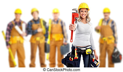 Industrial workers group. - Young woman with a wrench and a...