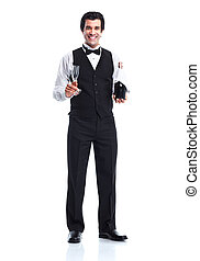 Waiter man. - Young smiling waiter man. Isolated over white...