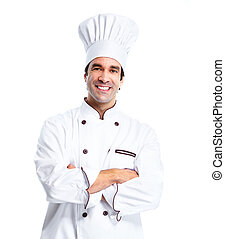 Professional chef man Isolated over white background