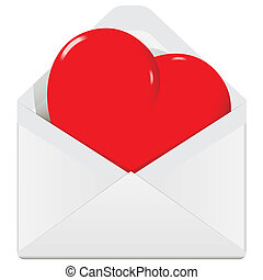 heart in the envelope - illustration, symbolic red heart in...