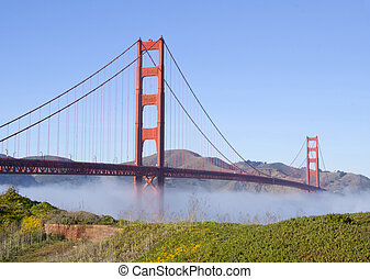 Golden Gate Bridge - Landscape with Golden Gate Bridge in...