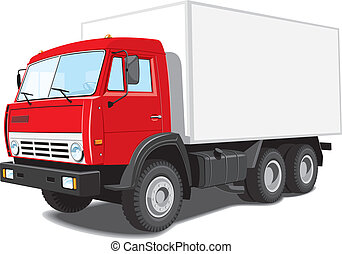 Delivery truck - Vector red delivery truck isolated on white...