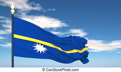 Flag Of Nauru on the background of the sky and flying...