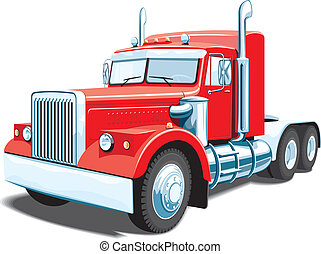 Semi truck - Vector red semi truck isolated on white...