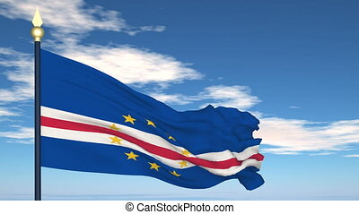 Flag Of Cabo Verde on the background of the sky and flying...