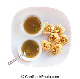 Panipuri snack also called gol gappa isolated - Panipuri...