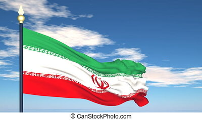 Flag Of Iran on the background of the sky and flying clouds