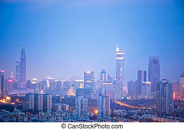 skyline of shenzhen china at night.