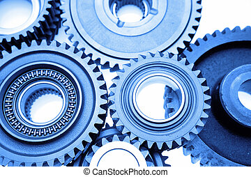 Steel gears - Closeup of steel gears meshing together