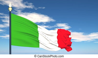 Flag Of Italy on the background of the sky and flying clouds...