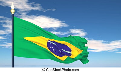 Flag Of Brazil on the background of the sky and flying...