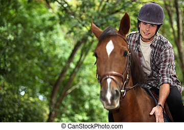 joven, hombre, equitación, caballo