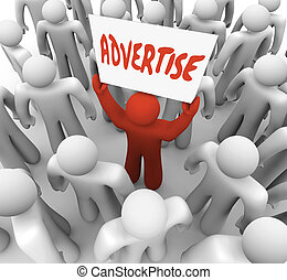 Advertise Man Holds Banner Sign to Attract Customers in Crowd