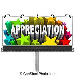 aprecio, cartelera, reconocimiento, bueno, trabajo