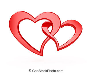Red hearts - 3d illustration of two red hearts isolated on...