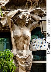 Sensual girl statue in Trieste