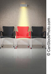 Three chairs in line and light on the middle chair. Concept...