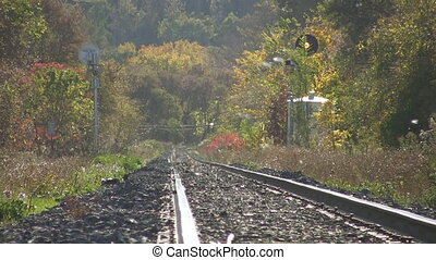 Hazy train tracks. - Heat shimmer and haze on railroad...