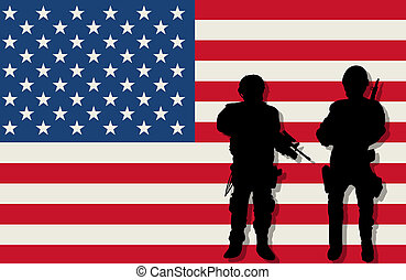 Armed soldiers and flag - Armed soldiers silhouettes over...