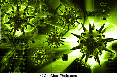 Flu virus - Digital illustration of Flu virus in colour...